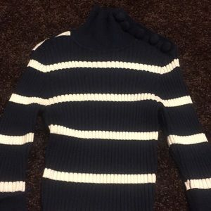 INC Navy and White Striped Sweater - XS - EUC.